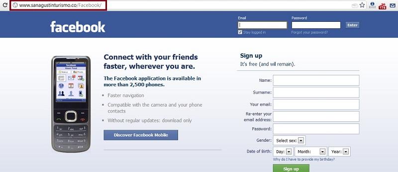 Sitio Web Spam Facebook Falso
