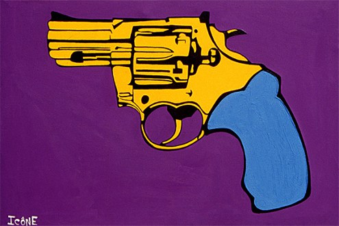 Gun painting by Chris Shaw, 1990