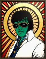 Elvis with Glasses & White Suit painting by Chris Shaw, 1998