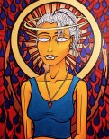 Madonna Milano painting by Chris Shaw, 2000