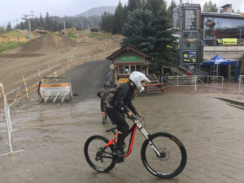 Sheri showing how mountain biking ought to be done - at Whistler