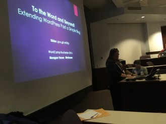 Meagan rocking her talk during WordCamp Rochester.