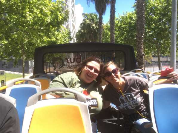Lise and Chrissie on the Yellow Bus Tour touring the modern section of Lisbon.