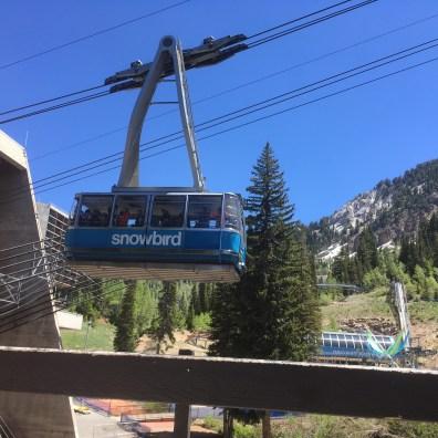 Men on the gondola heading up.