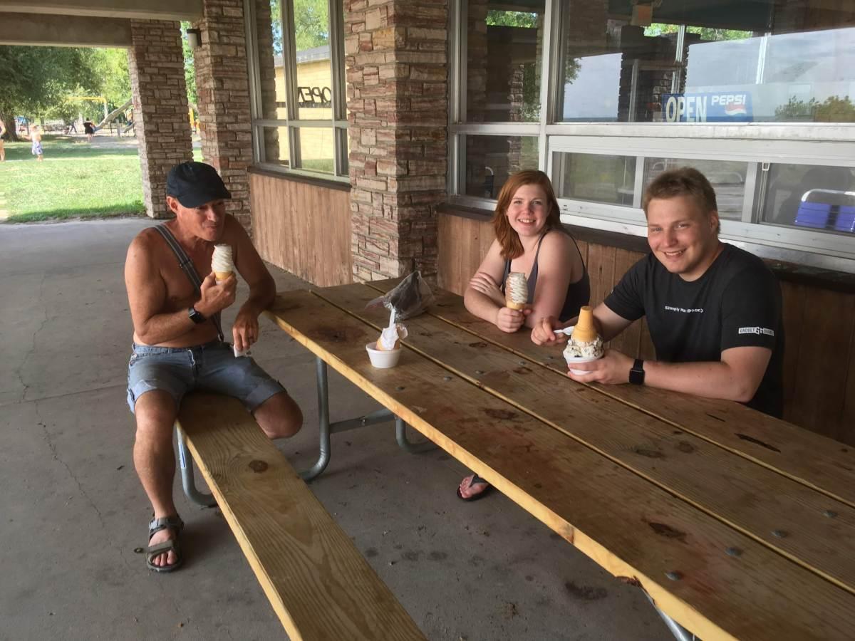 Sunday - Enjoying the ice cream