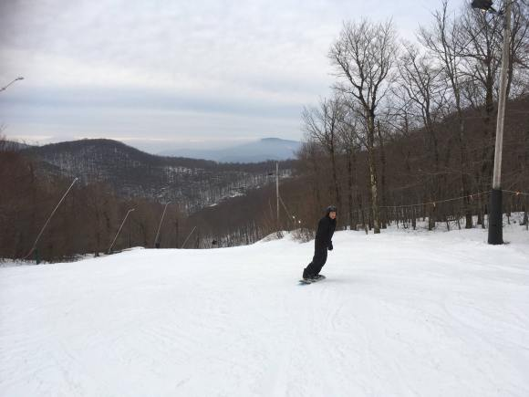 Chris enjoying play time on the beautiful hills at Jiminy Peak.