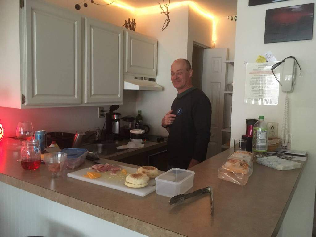 Chris making egg muffins