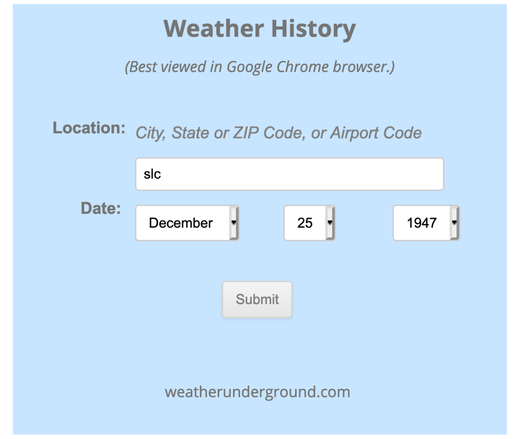 Weather history for December 25, 1947 in Utah.