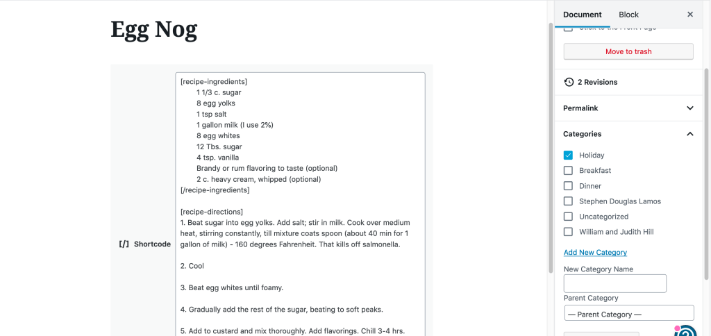 EggNog recipe showing shortcode