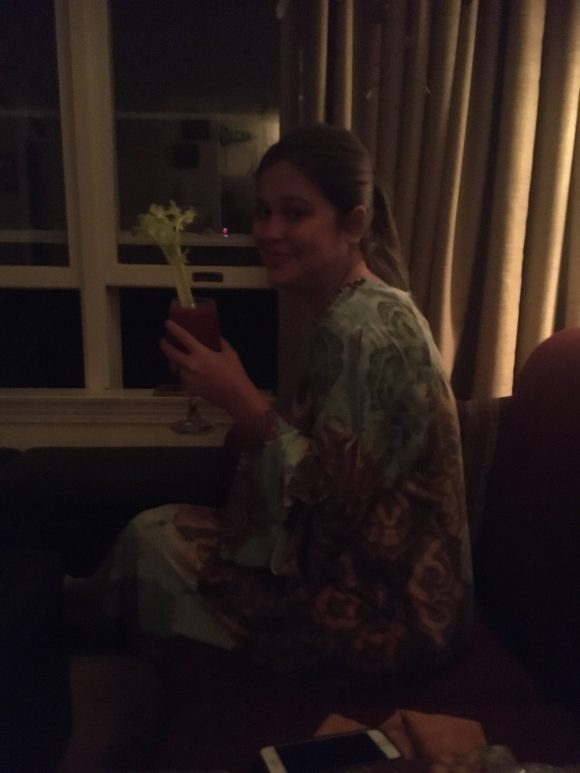 Bri drinking a virgin Bloody Mary