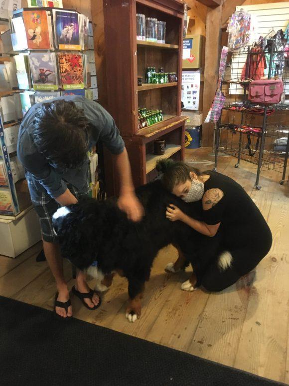 Zeb and Bri meet Charlie the dog.