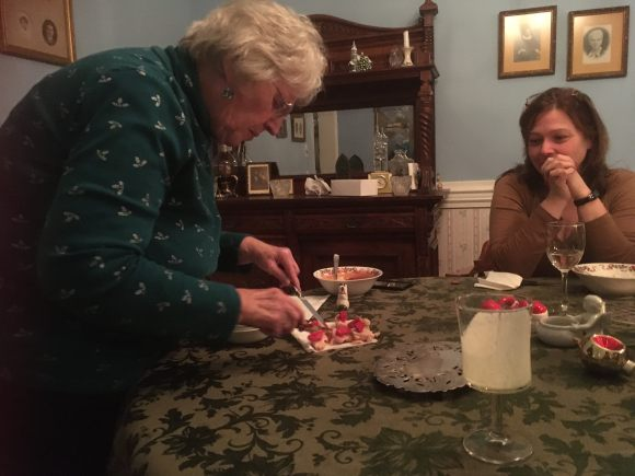 Aunt Anne cutting up the Marzipan