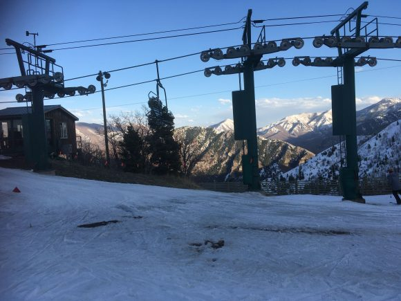Chair lift and mountains at Sundance