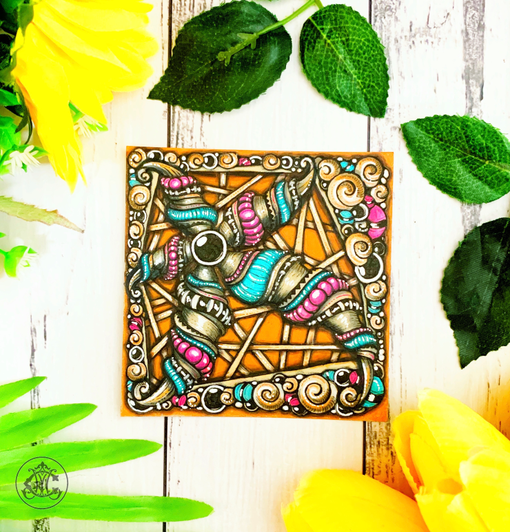 Beachy Radial Blossom Zentangle Tile