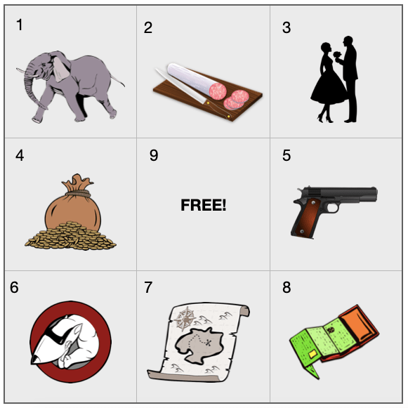 """The picture shows a 9-square BINGO board, numbered left to right. The middle square, #9, reads """"FREE!""""   Images in the top line: 1 Elephant 2 Cutting board with a cut-up sausage 3 Man handing a bouquet to a woman  Images in the middle line: 4 Bag of gold coins 9 FREE! 5 Gun 6 Dog 7 Treasure map 8 Wallet"""