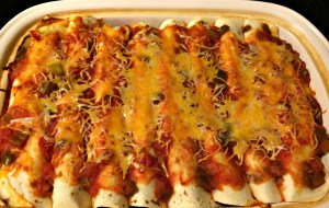 Meatless, vegetarian enchiladas
