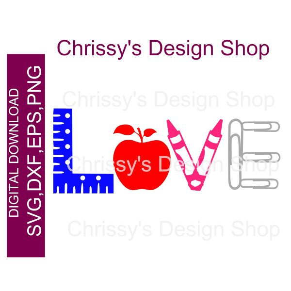 Download Love your teacher word art elements SVG DXF PNG - Chrissy ...