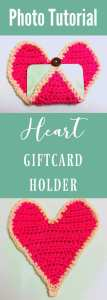 crochet heart, crochet heart tutorial, pink heart, gift card holder