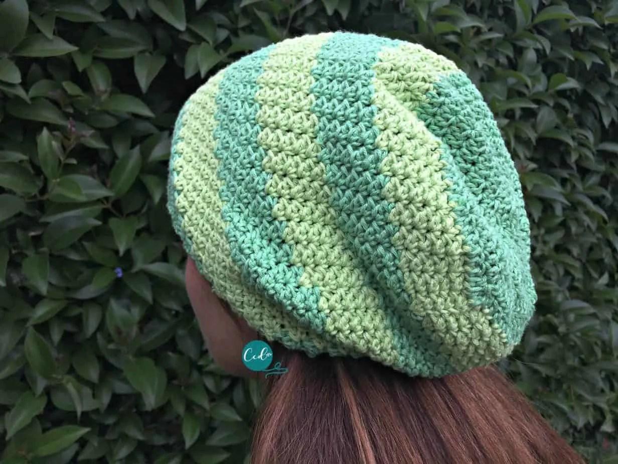 Striped Slouchy Hat Free Crochet Pattern