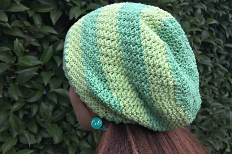 Striped Slouchy Hat Free Crochet Pattern Christacodesign