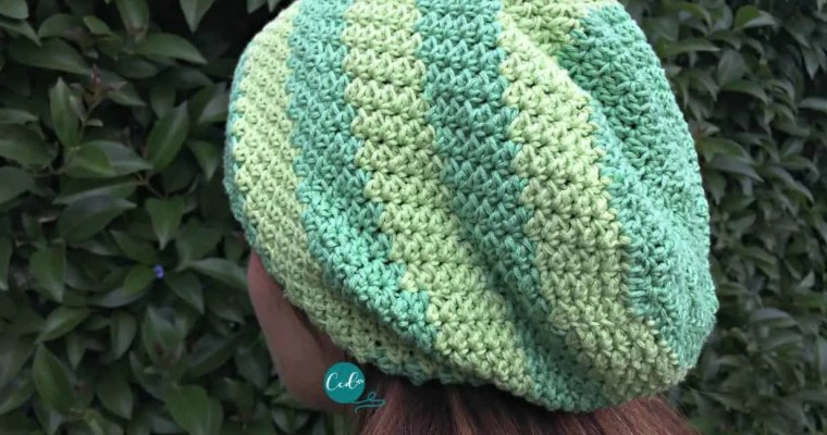 Striped Slouchy Hat Free Crochet Pattern
