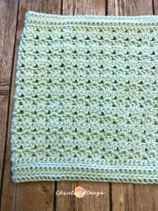 mint green crochet scarf, shell stitch