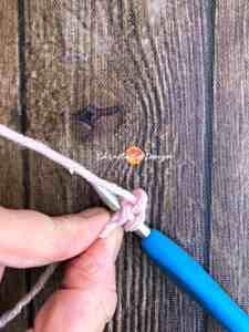 yarn bowl, pink yarn on crochet hook, fsc