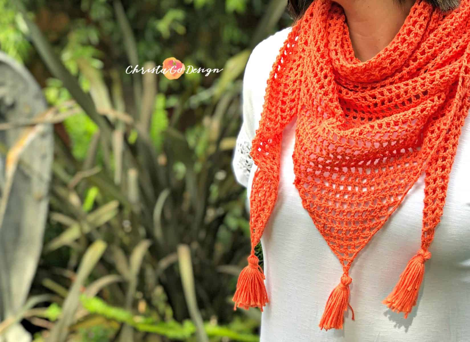 Easy Crochet Mesh Triangle Shawl Pattern Christacodesign