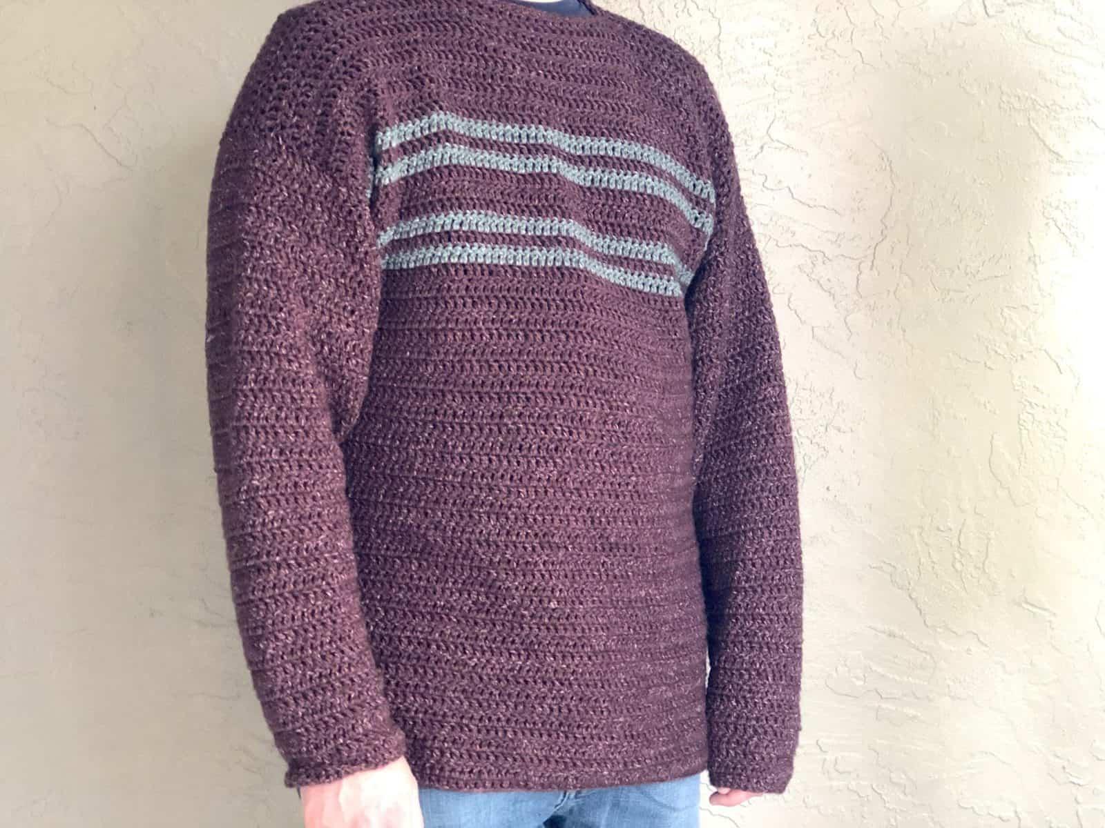 Men's Simple Striped Sweater a Free Crochet Pattern