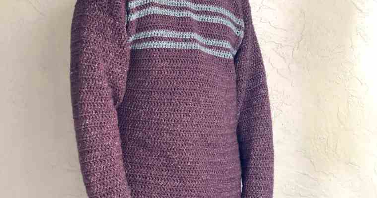 Men's Simple Striped Sweater a Free Crochet Pattern