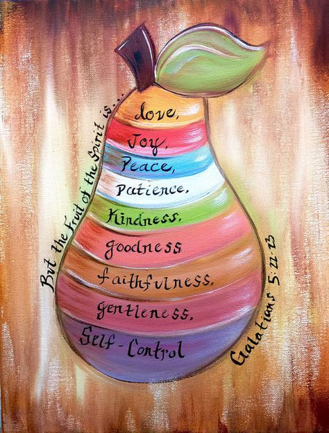 The fruit of the spirit painting, colorfully hand painted by Sheila A. Smith...