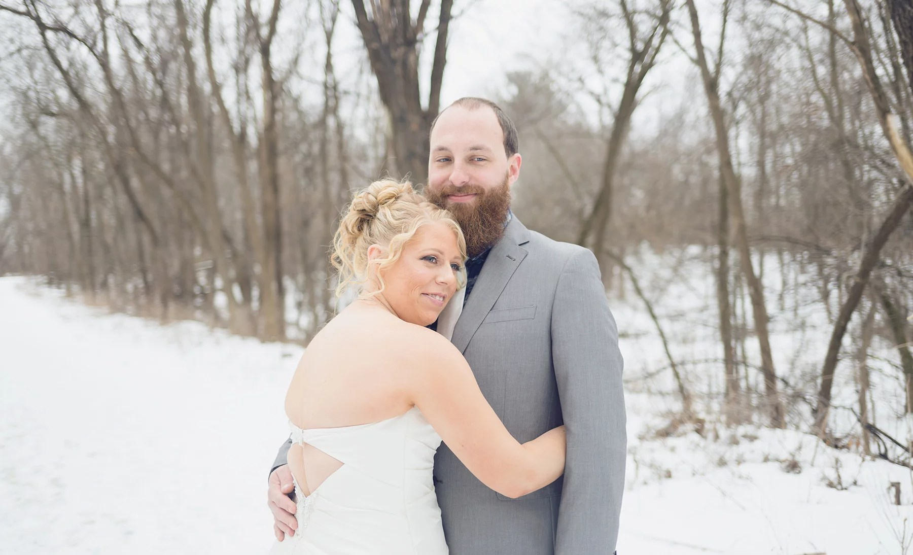 winter wedding with snow in st paul minnesota