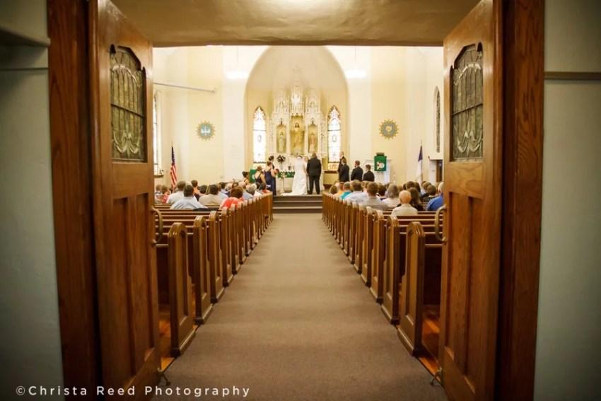 historic st john lutheran church wedding in Belle Plaine