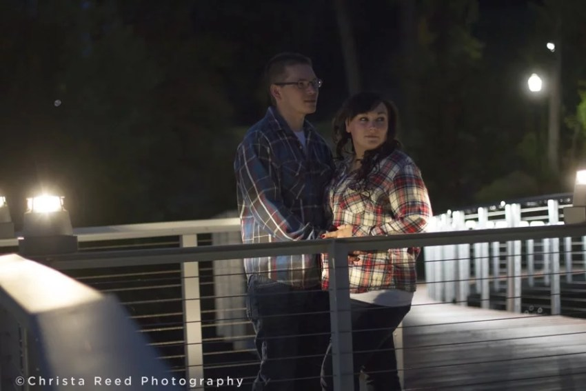 chaska engagement photographer with night time portraits