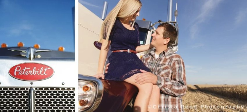 engagement portraits with a peterbilt semi truck in a cornfield