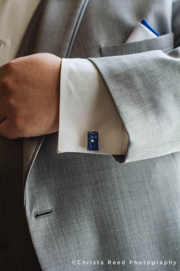 groom wears doctor who cufflinks