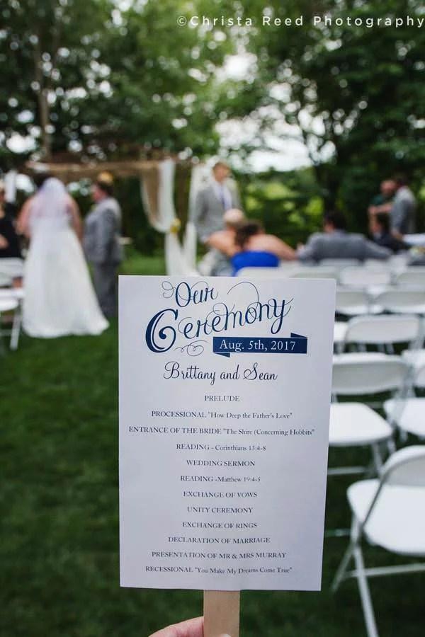 wedding ceremony program for outdoor chanhassen wedding