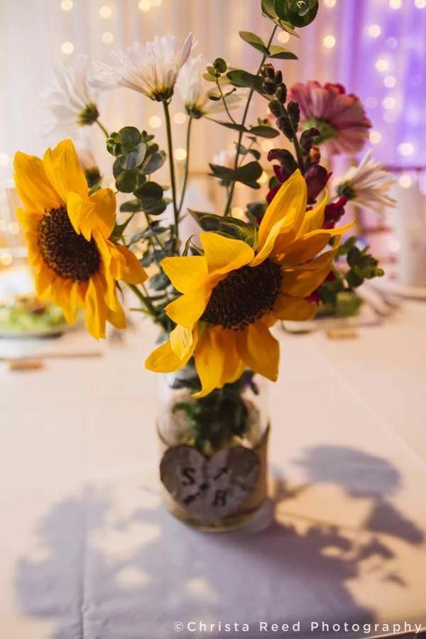 sunflower decorations at wedding reception