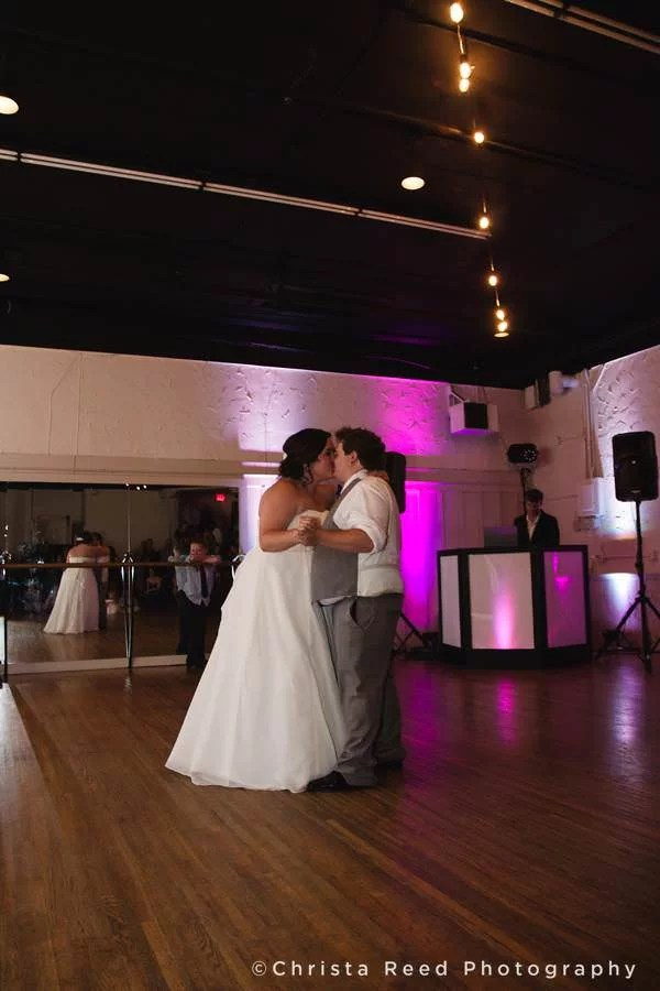 bride and groom dance in ballroom at chanhassen dinner theatre