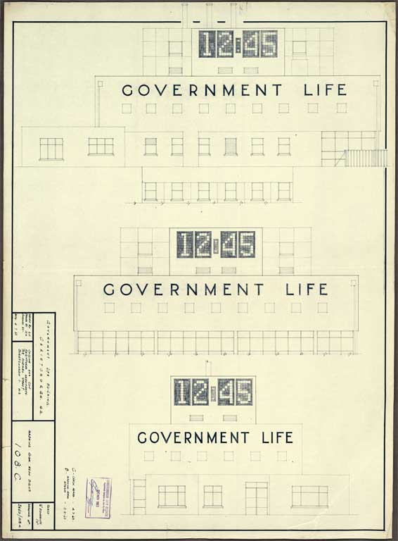 Government Life Building showing clock 12:45 4 July 1963 CCCPlans Government-Life-11-2