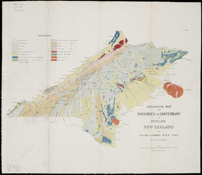 Title: Geological map of the Provinces of Canterbury and Westland, New Zealand by Julius von Haast, P.H.D., F.R.S., principal geologist. Date: [ca. 1866] Physical Description: The Alexander Turnbull Library holds a CT scan. Scale etc: Scale [1:1,000,000]. File Reference: ATLMAPS ATL-Acc-3233 Other Reference: MapColl 834.4caq/[ca.1866]/Acc. 3233