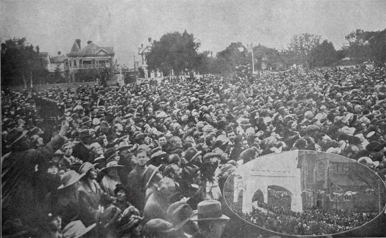 One section of the unprecedented crowd in Latimer Square. The Weekly Press, 19 May 1920, p. 24