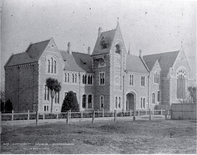 Canterbury College, Christchurch, showing clock tower and Great Hall [ca. 1882], CCL PhotoCD 1, IMG0012