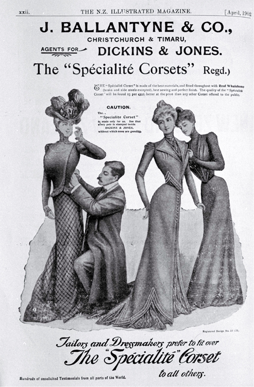 An advertisement for corsets sold by J. Ballantyne & Co., Christchurch and Timaru [1902] CCL PhotoCD 8, IMG0081