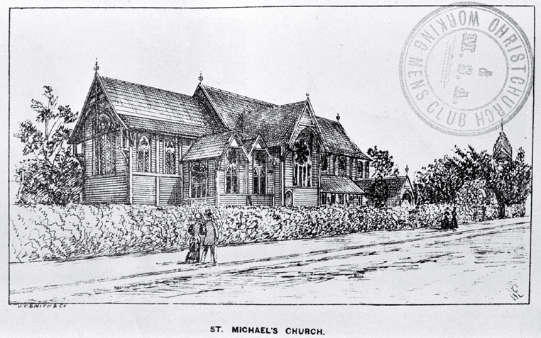Image: St. Michael's and All Angels Church, Christchurch [ca. 1885].