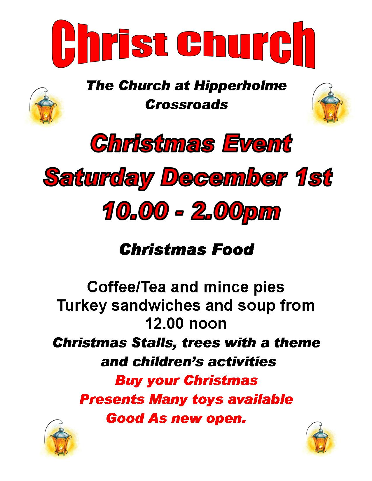 Christmas Event Saturday 1st December 10 00am