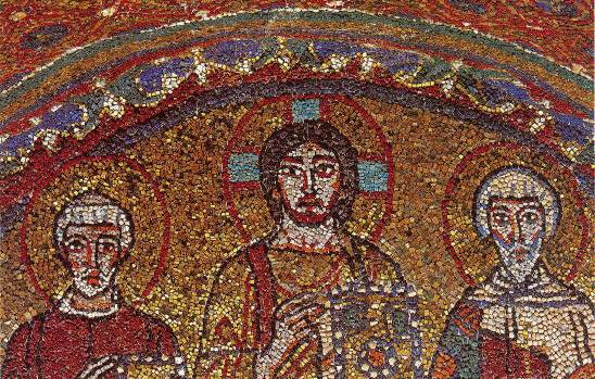 Santa Prassede mosaic, Christ with Sts. Valentine and Zeno