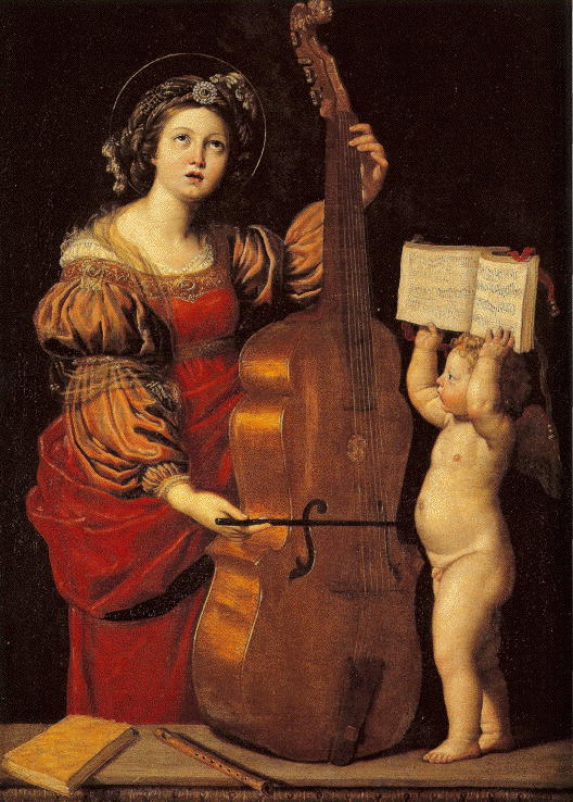 Domenichino, St. Cecilia with an Angel Holding Music