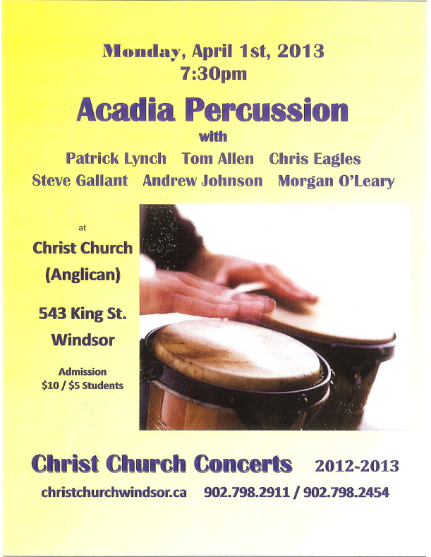 Acadia Percussion Poster