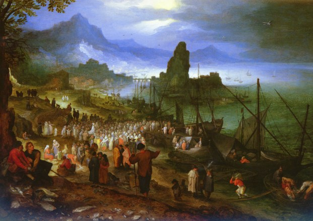 Jan Brueghel the Elder, Harbour Scene with Christ Preaching